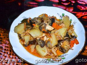 Тушеный картофель с капустой, курицей и грибами