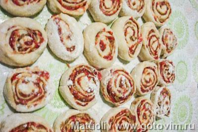 Творожные витушки с мясом и грибами, Шаг 04