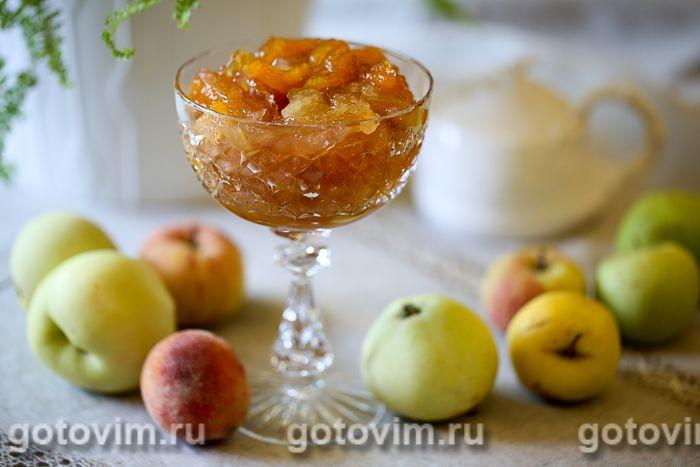 Варенье из персиков с яблоками . Фотография рецепта