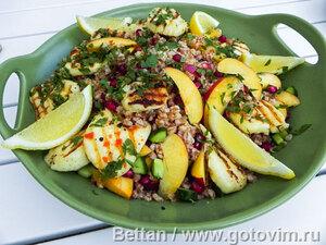 Пряный салат с булгуром, индейкой и курагой, пошаговый рецепт с фото