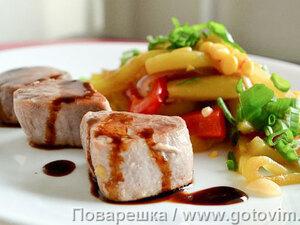 Свиная вырезка с овощами на азиатский манер