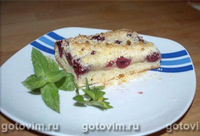 Вишнёвый пирог c крошкой (творожное тесто) . Фотография рецепта