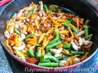 Лапша соба (якисоба с курицей и овощами), Шаг 04