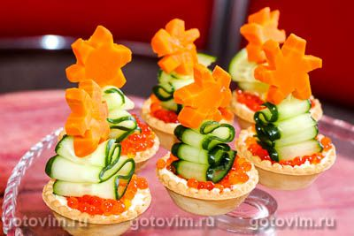 Закуски в тарталетках с сыром и красной икрой «Ёлочки». Фотография рецепта
