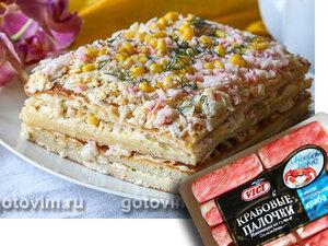 Закусочный торт с крабовыми палочками «Снежный краб» VIČI