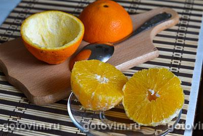 Салат из курицы с апельсинами в апельсиновых корзиночках, Шаг 03
