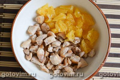 Салат из курицы с апельсинами в апельсиновых корзиночках, Шаг 05
