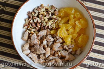 Салат из курицы с апельсинами в апельсиновых корзиночках, Шаг 06