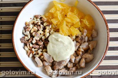 Салат из курицы с апельсинами в апельсиновых корзиночках, Шаг 07