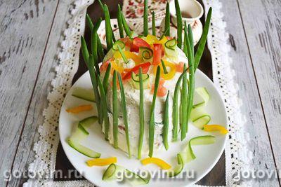 Бутербродный торт с красной рыбой