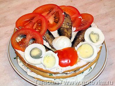 Закусочный торт с рыбой, Шаг 07