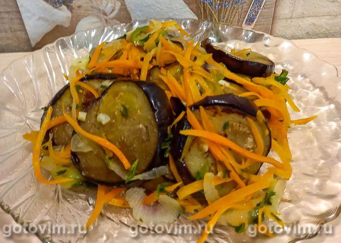 Закуска из жареных баклажанов с морковью и сладким перцем в кисло-сладком маринаде