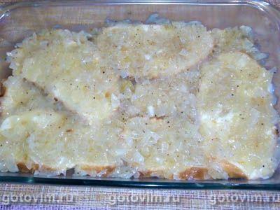 Запеканка из хлеба с ветчиной и жареным луком по-голландски