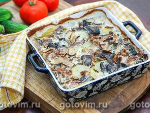 Картофельная запеканка с говяжьим языком и лесными грибами