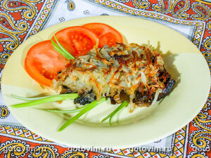 Запеканка из говядины с грибами и картофельной корочкой