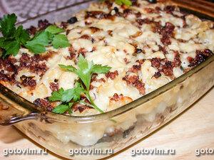 Запеканка из макарон c мясным фаршем и овощами