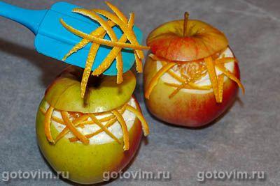 Запеченные яблоки с творогом и мандарином