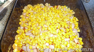 Запеканка мексиканских фермеров с кукурузными хлопьями, бобами и яичницей-глазуньей, Шаг 03