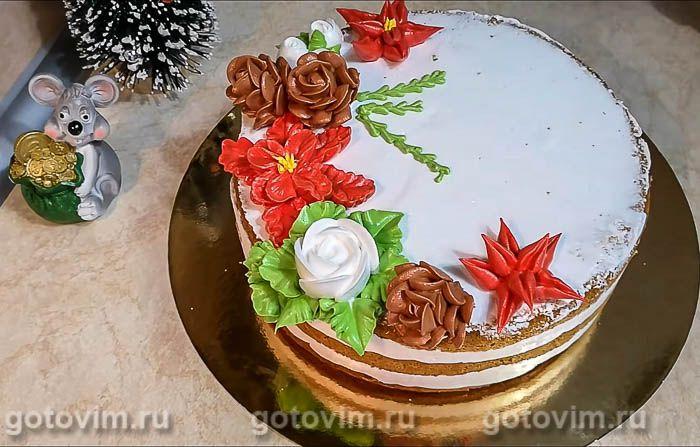 Бисквитный торт с зефирным кремом