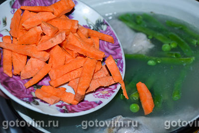 Суп-пюре из зеленого горошка с курицей, Шаг 04