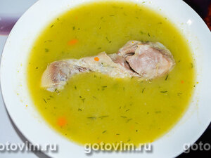 Суп-пюре из зеленого горошка с курицей