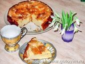 Запеченый крем из ряженки с яблоками и орехами