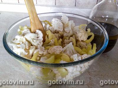 Запеченная цветная капуста  со сладким перцем и каперсами, Шаг 03