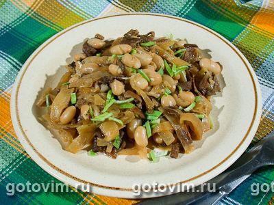 Тушеная капуста с фасолью и грибами. Фото-рецепт