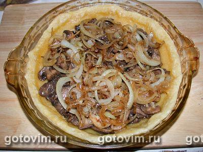Флан с грибами и луком