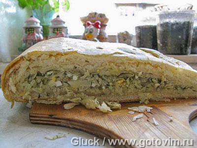 Капустный пирог из дрожжевого слоеного теста