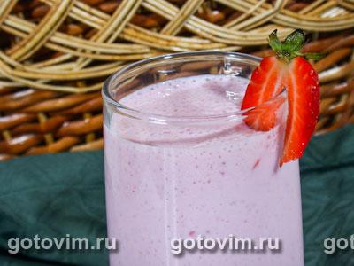 Молочный коктейль с клубникой. Фото-рецепт