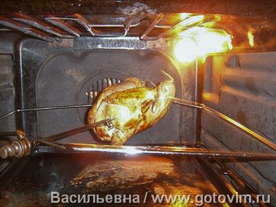 Курица, запечённая с сыром на вертеле