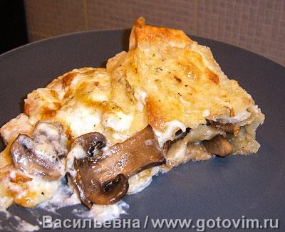 Лазанья с грибами и креветками (из лаваша). Фото-рецепт