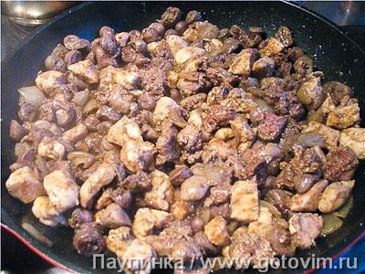 Меурав Иерушалми (жареные пряные куриные сердечки и печенка)