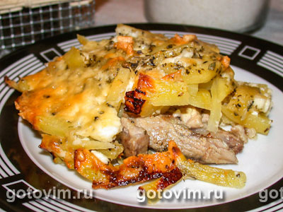 картофельная запеканка без мяса в духовке рецепт с фото пошагово в