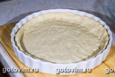 Песочный пирог с лисичками и сыром