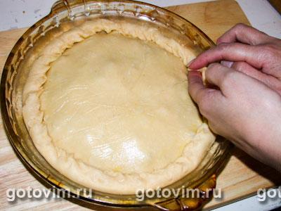 Пирог песочный с опятами