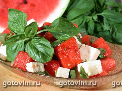 Салат из арбуза с сыром фета. Фото-рецепт