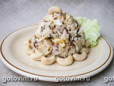Рисовый салат c курицей, кешью и грибами