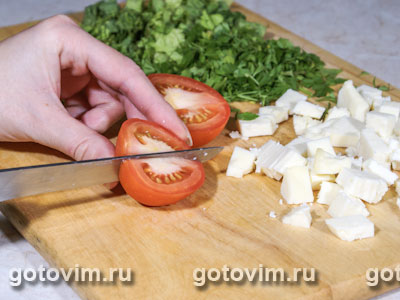 Макаронный салат с брынзой и маслинами
