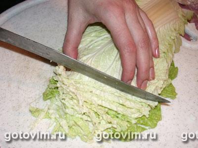 как резать пекинскую капусту для салата