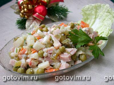 Салат с копченой курицей (а ля «оливье»)