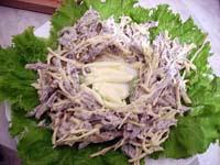 Салат из сердца с сыром