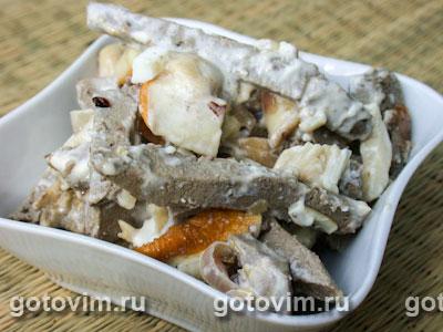 Салат из грибов и печенки