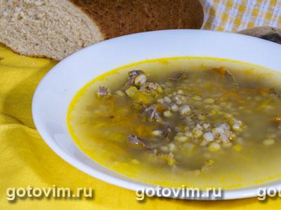 Суп из куриных желудочков с перловкой