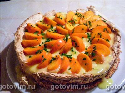 Торт безе с нектаринами и лимонным кремом