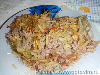 Куриные желудочки с картофельной соломкой